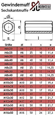 - Langmuttern Distanzmuffen L/änge: 30 mm SC-Normteile 5 St/ück - SC9179 Sechskantmuffen - M6x30 - V2A Edelstahl A2 - Gewindemuffen in Sechskant-Ausf/ührung