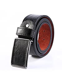 Men's Metal Buckle Leather Waistband Vintage Classic Pin Buckle Belts (Black)