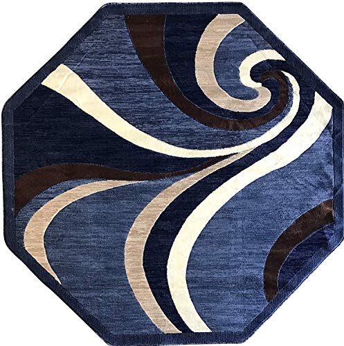 Modern Octagon Contemporary Area Rug Blue Americana Design 144 (4 Feet X 4 Feet)