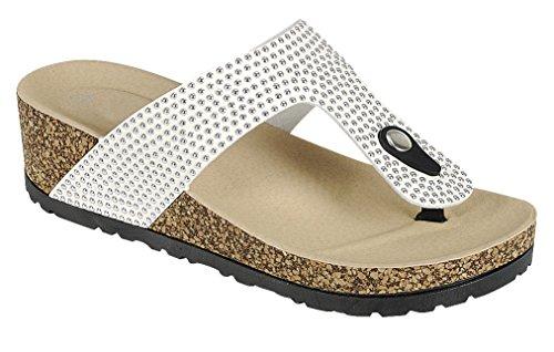 Cambridge Select Womens Studded T-Strap Thong Slip-On Chunky Platform Wedge Sandal White mLHSR6