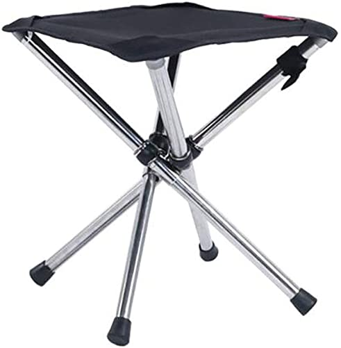 Camping Stool Fold Mini Camping Stool, Portable Lightweight Camping Stool, Large Size and Stainless Steel Outdoor Foldable Chair for Camping, Travel, Hiking, BBQ, Fishing, Garden, Beach Black-Large