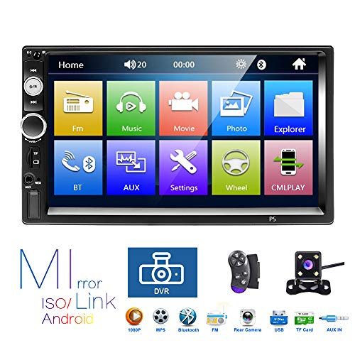 Hikity 2 Din Car Stereo 7'' HD Touch Screen MP5 Player Bluetooth FM Radio Support iOS/Android Phone Mirror Link with AUX/Dual USB/SD/DVR Input + Backup Camera & Steering Wheel ()