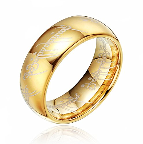 Lord Of The Rings Tungsten Gold Plated Carbide Laser Pattern High Polished