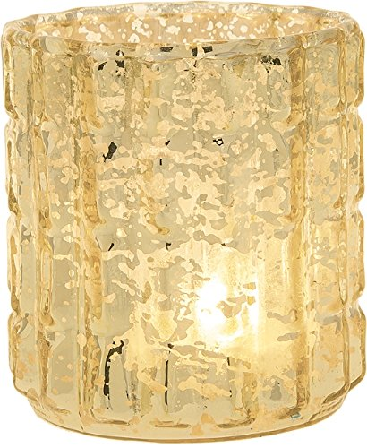 Luna Bazaar Vintage Mercury Glass Candle Holder (2.75-Inch, Helen Design, Fluted Column Motif, Gold) - For Use with Tea Lights - For Parties, Weddings, and Homes