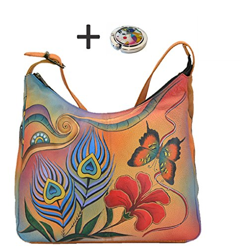 Design Top Peacock Leather Hand Free on Handbag Quality Real by Anuschka Painted Purse Hobo Holder Butterfly Purse Large Anna qYvAR