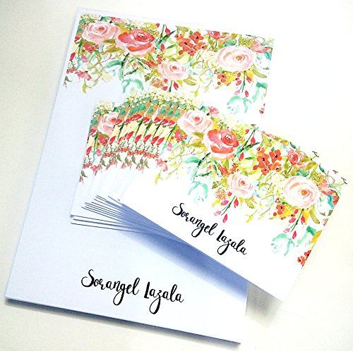 amazon com watercolor personalized stationery set personalized 50