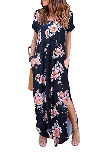 Women's Summer Maxi Dress Casual Loose Pockets Long Dress Short Sleeve Split (Justice Jeans Size 12)