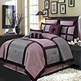 Morgan Purple, and Gray Twin Extra Long size Luxury 6 piece comforter set includes Comforter, bed skirt, pillow shams, decorative pillows