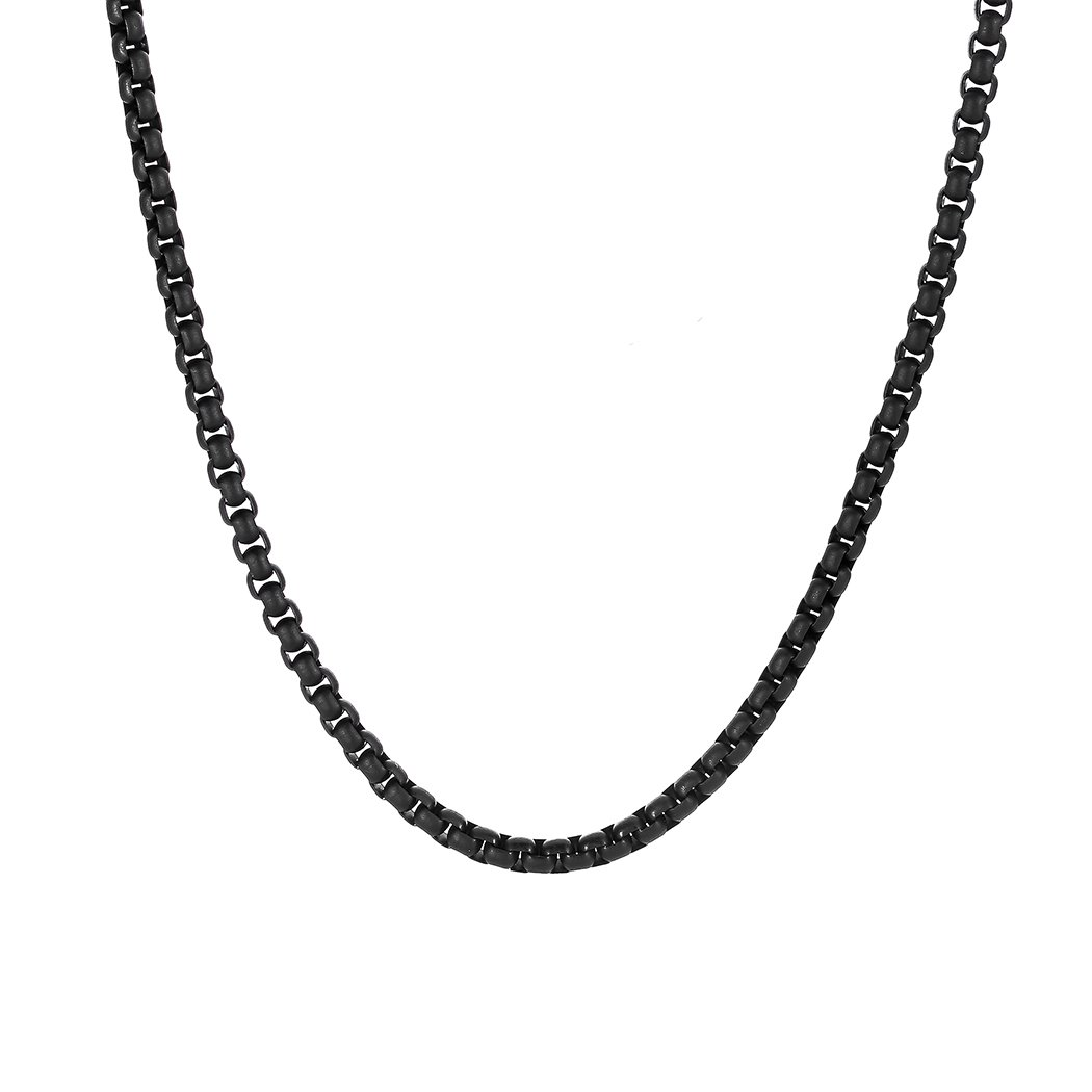 Bowisheet 4MM Matte Black Square Rolo Chain Stainless Steel Round Box Necklace Men Women Jewelry
