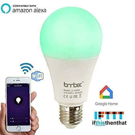 Wifi smart led light bulb compatible with alexa google home ifttt smart home automation dimmable warm white e26 e27 light bulb 9w60w equivalenta19 rgbw