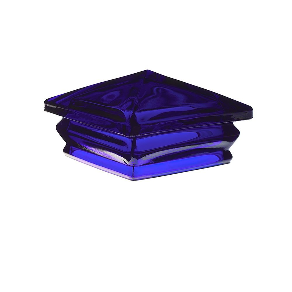 Woodway Products 870.3207 6-by-6-Inch Glass Pyramid Post Cap, 8-Pack, Blue