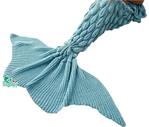 "Price comparison product image Hughapy knitted Mermaid Tail Blanket for Adults Teens,Kids Crochet Snuggle Mermaid,All Seasons Big Seatail Sleeping Blanket (71""x35.5"", JY Light Blue)"