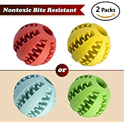 "2PCS Dog Toy Ball,(2.8"") Nontoxic Bite Resistant Toy Ball for Pet Dogs Puppy Cat, Dog Food Treat Feeder Tooth Cleaning Ball,Dog Pet Chew Tooth Cleaning Ball Pet Exercise Game Ball IQ Training ball"