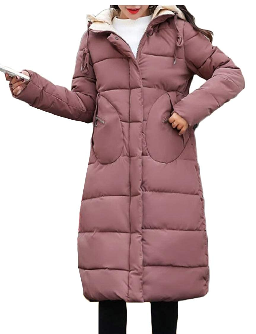 Jaycargogo Womens Thicken Loose Hooded Quilted Mid Long Down Jacket Coat