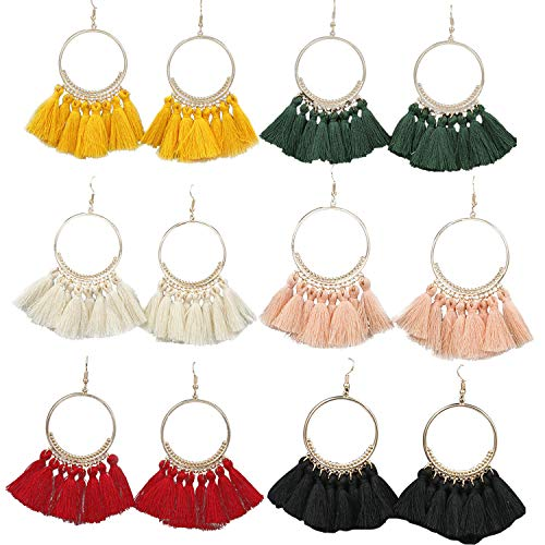 (6 Pairs Tassel Earrings Hypoallergenic Big Hoop Fashion Fringe Bohemian Colorful Statement Earring Sets for Women)
