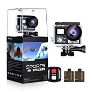 "Action Camera 4K HD 24MP 1080P 128GB Wifi Waterproof 2"" LCD 170° Wide Angle OGL Sport Camera with 2 Rechargeable 1050mAh Batteries Accessories Kits"