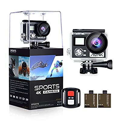 """Action Camera 4K HD 24MP 1080P128GB Wifi Waterproof 2"""" LCD 170° Wide Angle OGL Sport Camera with 2 Rechargeable 1050mAh Batteries Accessories Kits"""