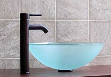 Bathroom Frosted Glass Vessel Sink 12FE3 Combo (included Oil Rubbed Bronze  Faucet + Drain)