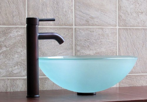 Bathroom Frosted Glass Vessel Sink 12FE3 Combo (included Oil Rubbed Bronze  Faucet + Drain)     Amazon.com