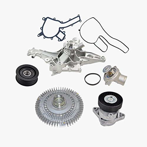 New Water Pump Fan Clutch Thermostat Tensioner Idler Pulley Kit for Mercedes C43 AMG C55 AMG CL55 AMG CLK320 CLK55 AMG E320 E55 AMG G55 1122001401/1122000122/1122030275/1122000970/0002020919 (5pcs) (C43 Clutch Fan Mercedes)