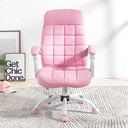 My-Swivel chair Chaise de Loisirs pivotante en Cuir PU Rose Coussin éponge Haute résilience, Chaise de Bureau Ergonomique à Dossier Moyen avec Dossier de réglage, Hauteur réglable
