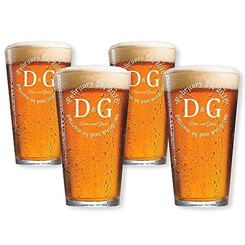 Personalized Pint Beer Glasses Set of 4 (Pint 16oz.) - Monogram Pint Glass
