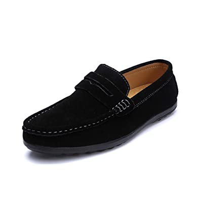 15307d5422c SUNROLAN Men s Penny Loafers Moccasin Driving Shoes Slip On Flats Boat Shoes  Black