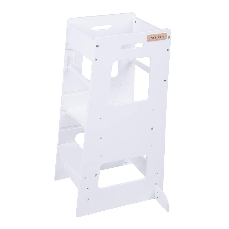 MeowBaby Lernturm f/ür Kinder Lernstuhl Made in EU Montessori K/üchenhelfer Learning Tower Kitchen Helper Wei/ß