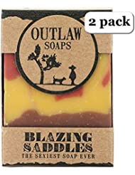 Blazing Saddles - The Sexiest Soap Ever - 2 Pack - Western inspired: Smells like leather, gunpowder, sandalwood, and sagebrush - Men's or Women's Bar Soap