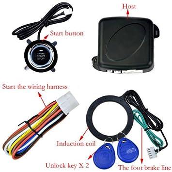 Botón de encendido de coche sin llave, bloqueo RFID, encendido antirrobo, alarma antirrobo: Amazon.es: Coche y moto
