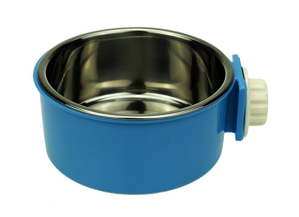 LESYPET Dog Crate Bowls - Stainless Steel Dog Bowl Hanging Food Water Pets Bowl for Dog Cat Bird with Bolt Holder -Blue