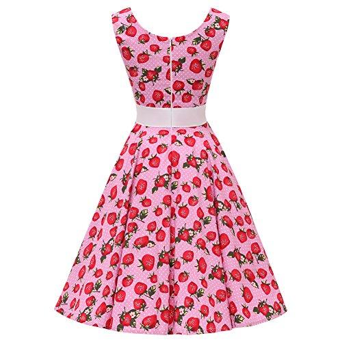 Dot 50s Polka 100 Line Dotted Swing Seam FiftiesChic Vintage Pink Floral Dress Cotton Rockabilly Strawberries Sleeveless qwxYXq84B
