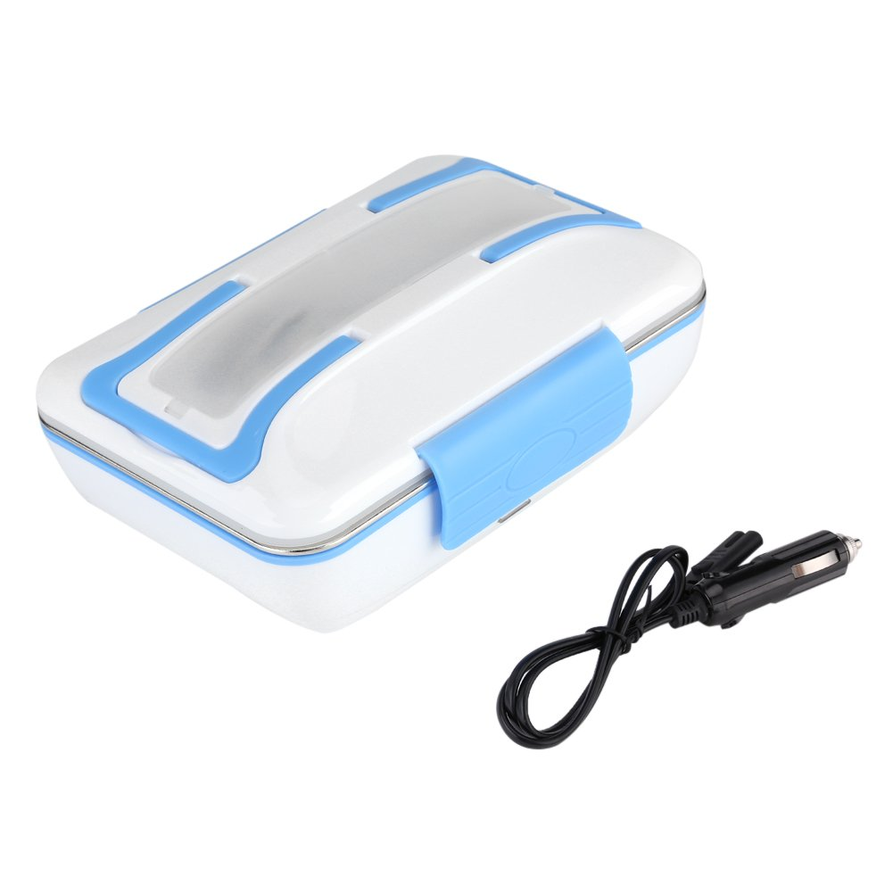 Portable Car Plug Large Lunch Box Electric Heating Lunch Box Stainless Steel Food Warmer with Spoon and Fork 12V 40W (Blue) Fdit