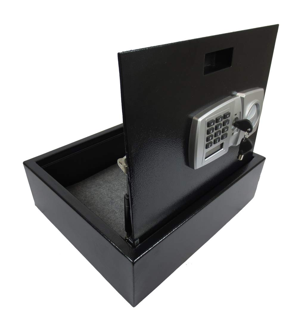Top Opening Steel Drawer Keypad Safe Box with Combination Password Lock Vault, Great for Home Closet Office Drawer
