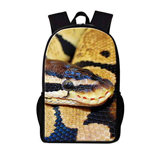 Dispalang Cute Snake Print Backpack Art School Bookbag Double Shoulder Satchel for Boys Animal Rucksack for Girls