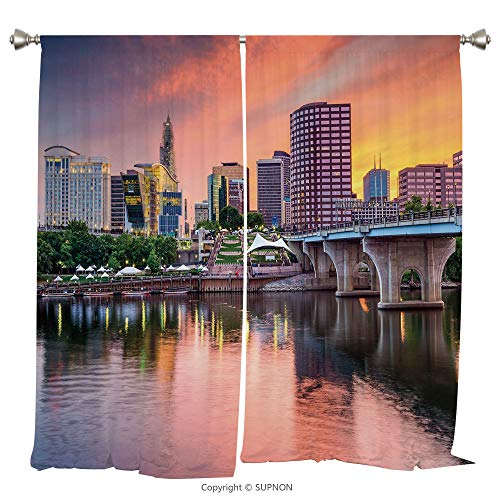 Kit Rod Conn (Rod Pocket Curtain Panel Thermal Insulated Blackout Curtains for Bedroom Living Room Dorm Kitchen Cafe/2 Curtain Panels/108 x 95 Inch/United States,Water Reflection in Evening Urban City Hartford Conn)
