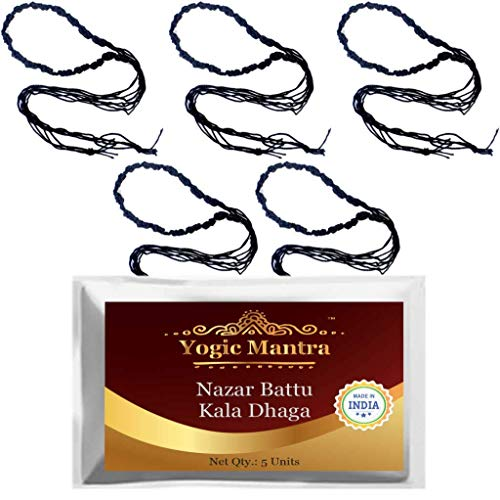 Yogic Mantra Nazar Battu Kala Dhaga (5 Handmade Black Thread Kalava Raksha Sutra – Made from 4 Silk Strings Each) Energized Sacred Holy Thread Evil Eye Protection Anklets for Men, Women & Children