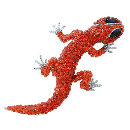 EVER FAITH Women's Austrian Crystal Cute Insect Lizard Brooch Red - Lizard Crystal Pin