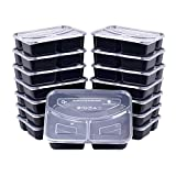 Meal Prep Containers, [15 Pack] Bayco 3 Compartment Bento Box, Food Storage Containers, lunch containers with lids - BPA Free, Stackable, Reusable, Microwave, Dishwasher & Freezer Safe (36oz)
