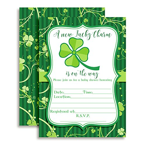 St Patricks Day Baby Shower - Amanda Creation St. Patrick's Day Baby Shower Fill in Invitations Set of 20 with envelopes