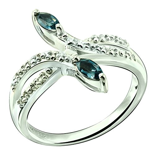 Sterling Silver 925 Ring LONDON BLUE TOPAZ and WHITE TOPAZ 0.37 Carat with Rhodium-Plated Finish (7) (925 Accented Side Silver Ring)