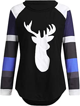 Forthery Clearance Womens Tunic Tops Plus Size Xmas Reindeer Flare Sleeve T-Shirt Loose Blouse
