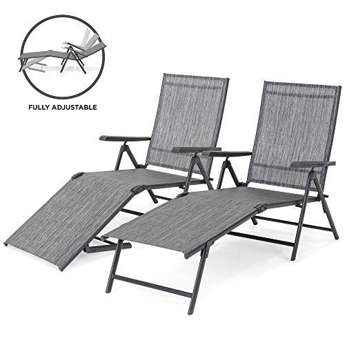 - Best Choice Products Set of 2 Outdoor Adjustable Folding Steel Textiline Chaise Reclining Lounge Chairs with 4 Back & 2 Leg Positions, Gray