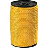 Boxes Fast Hollow Braided Polypropylene Rope, 3/16, 450 lb, Yellow, (1 Roll of 1000')