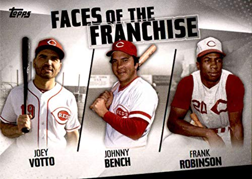 Johnny Bench Memorabilia - 2019 Topps Series 2 Faces of the Franchise #FOF-8 Frank Robinson/Joey Votto/Johnny Bench Cincinnati Reds Official MLB Baseball Trading Card