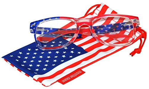 Classic American Patriot Sunglasses USA American Flag Frame Clear Lens OWL