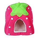 Cheap TOOGOO(R) Soft Sponge Strawberry Pet Dog Cat Bed House Kennel Doggy Cushion Basket Pillow Pink – S