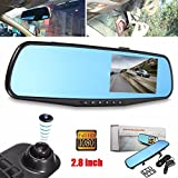 Sedeta - Espejo retrovisor y grabadora para coche / cámara de seguridad, aparcamiento / monitor de visión nocturna, TFT HD 1080P, 7.1 cm