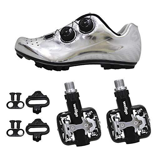 Mikrofaser PU Mountainbikeschuhe SIDEBIKE Schuhe Radfahren Tragbar Silber Atmungsaktivität Rutschfest Fahrradschuhe mit Pedalen wqTXYTS