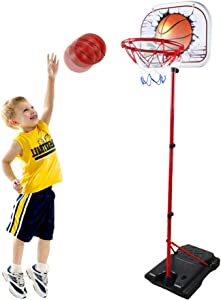 HANMUN Basketball Hoop for Kids Set Adjustable Portable Basketball Set 2-in-1 2020 TOP19044 Kids Basketball Stand Sport Game Play Set Net , Ball and air Pump Inclued 3+ Years Toddler Baby Sport … …